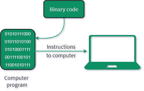 Instraction binary code to computer.